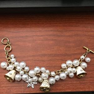 Jewelry - CHRISTMAS IN JULY PEARL ENAMELED BELL BRACELET!